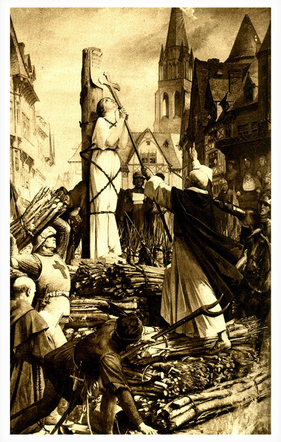Jeanne d'Arc sur le bûcher dressé sur la place de Rouen