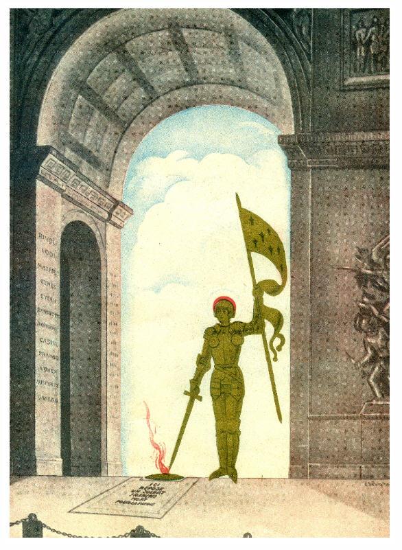 Jeanne d'Arc rallumant la flamme de l'Arc de Triomphe