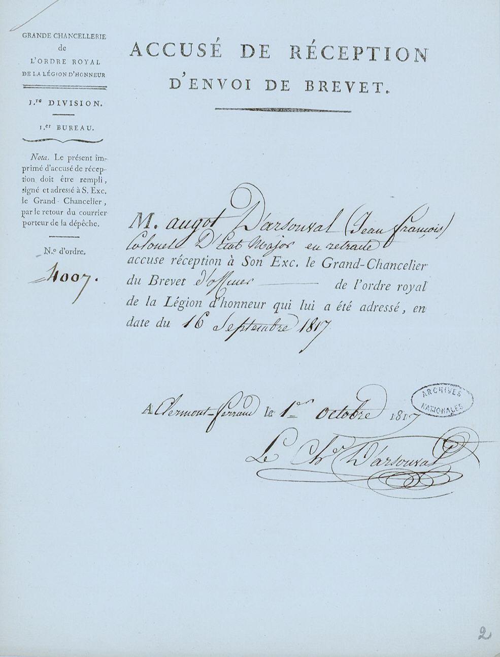 Légion d'Honneur 1817