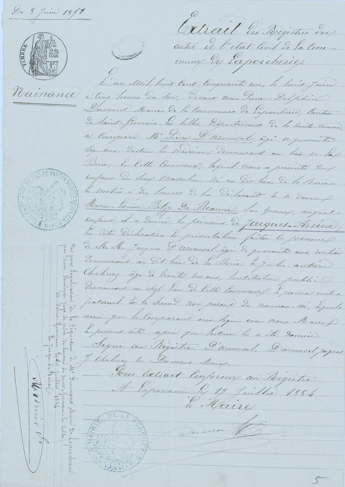 Extrait de naissance d'Arsène d'Arsonval