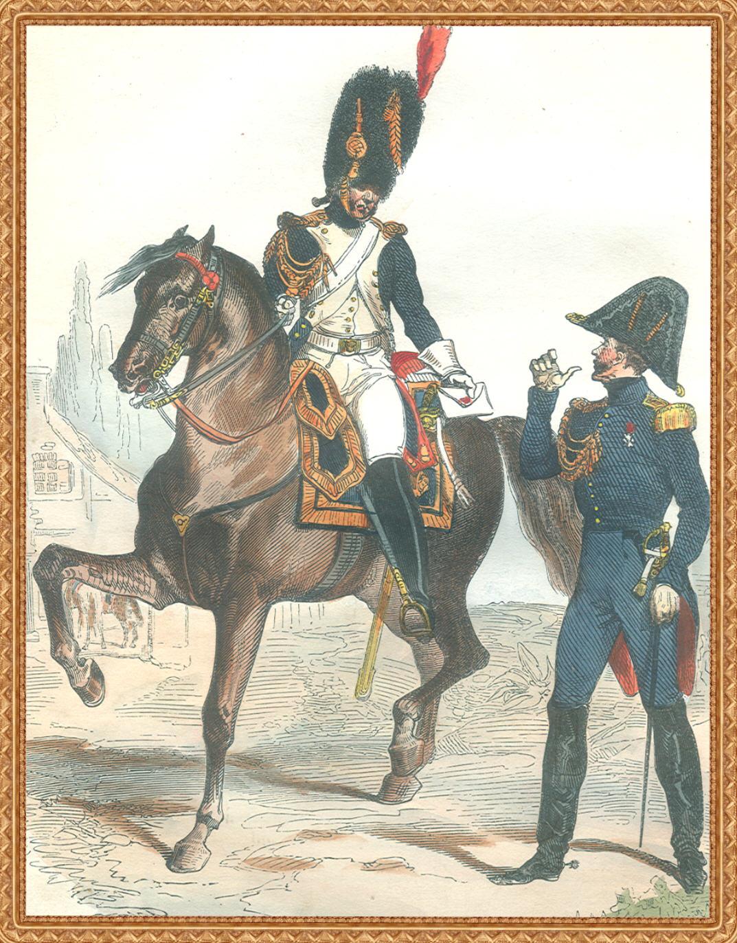 Un Grenadier à cheval et un officier en petite tenue