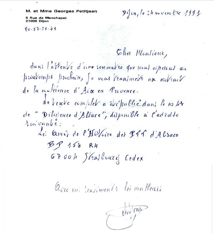 Lettre de Mr Petitjean Georges