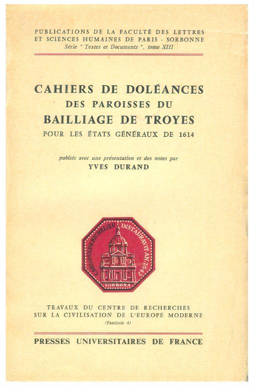 Cahiers de Doléances au bailliage de Troyes