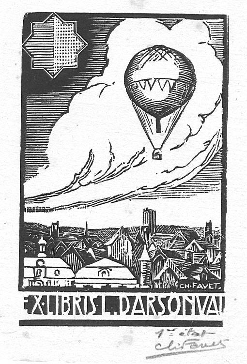 Ex-Libris de Léon Darsonval, Pilote-Aéronaute