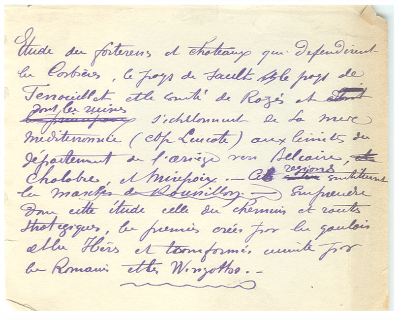 Ecrit manuscrit de l'Auteur